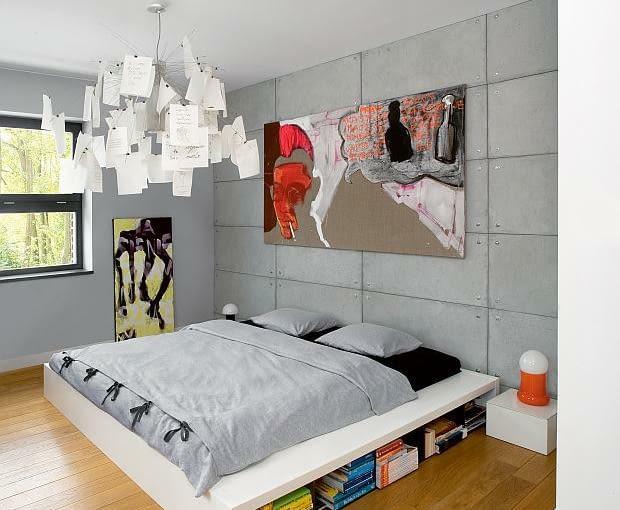 nowoczesny dom, realizacje domów,sypialnia, beton