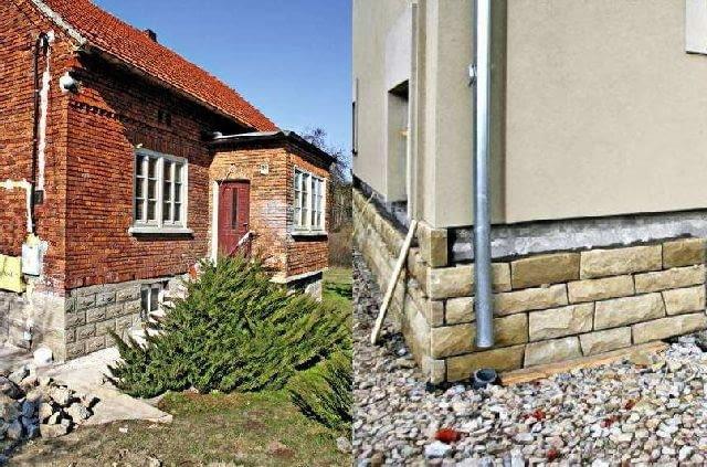 Cokoły przed i po. Ściany piwnic były wykonane z ozdobnych betonowych pustaków. Aby dom chociaż trochę przypominał najstarsze domy z okolicy, wznoszone na podmurówce z miejscowego kamienia, postanowiono obmurować część cokołową płytami piaskowca. Oparcie dla nich stanowi nowa ława fundamentowa, którą zezbrojono z istniejącą ławą