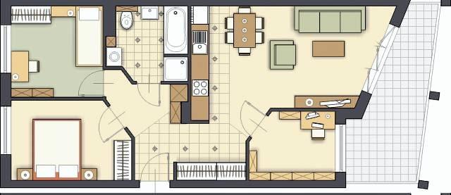 Projektowanie wnętrz. Projekt 2. Gabinet i kuchnia są w tych samych miejscach co w wersji poprzedniej. Mają podobny metraż, ale inny kształt. Zupełnie inaczej umieściłem też wejście do strefy dziennej.