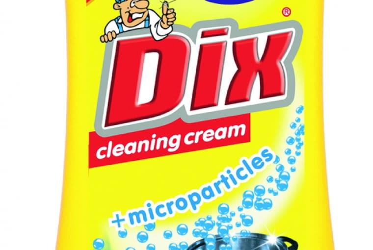 DIX - mleczko /GOLD DROP. Zawiera formułę z mikrogranulkami, która usuwa nawet najbardziej oporny brud, kamień i rdzę oraz osad z mydła, nie rysując powierzchni. Dostępne jest w dwóch wersjach: cytrynowe, Active Fresh. Cena: ok. 4,50 zł (550 g), www.golddrop.eu
