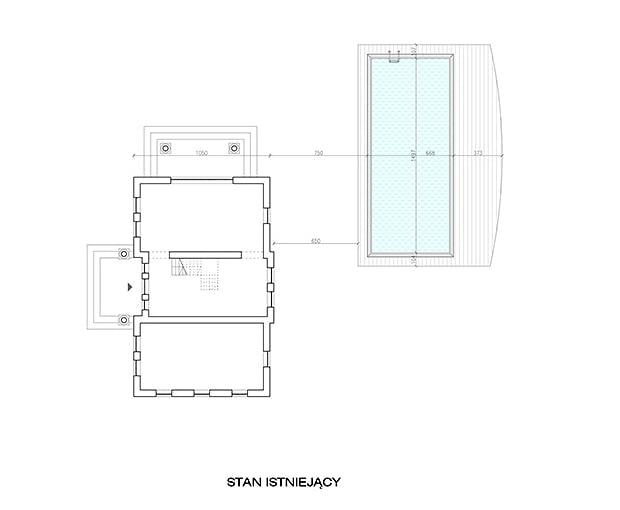 Projekt rozbudowy starego domu - rzut stanu istniejącego