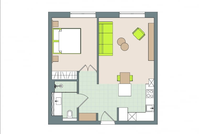 Rzut oka na plan: 52 m kw. . WWarszawie, 2 pokoje . Domownicy: Renata i Krzysztof