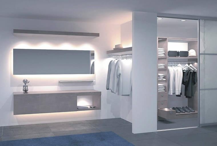 Garderoba z systemem oświetlenia meblowego