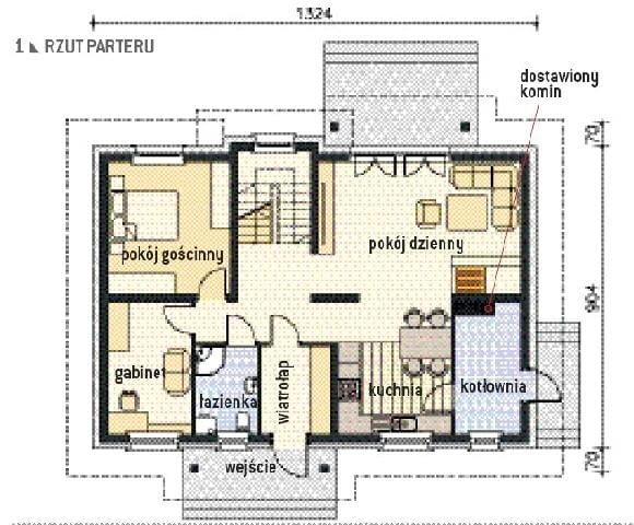 Rzut parteru domu państwa Zielińskich; projekt energooszczędnego domu Aston z pracowni Lipińscy Domy