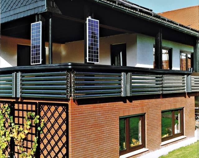 Kolektory próżniowe zamontowane jako balustrada balkonu