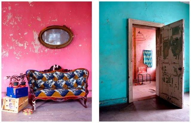 vintage, design, ściany