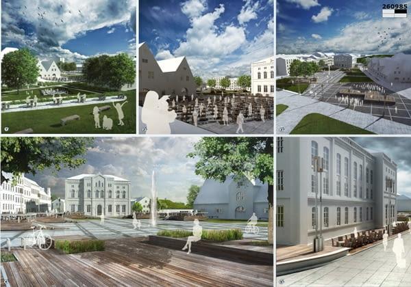 Pierwsza nagroda równorzędna za projekt rewitalizacji gdańskiego Placu Wałowego. Autorzy: Miłosz Zieliński i Laura Klimczak.