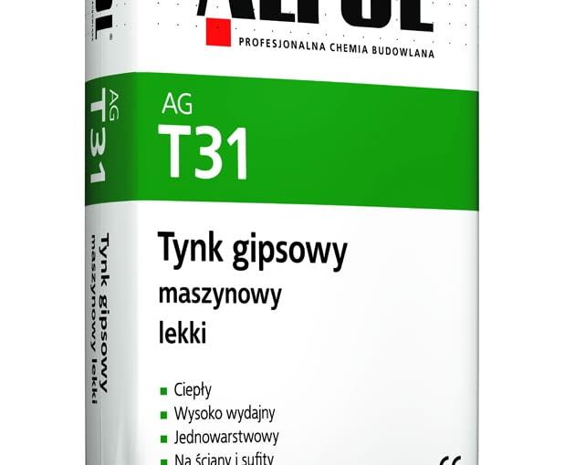 AG T31 Tynk gipsowy maszynowy lekki firmy Alpol, worek 30 kg, cena netto (bez rabatów) 30 zł/opak.