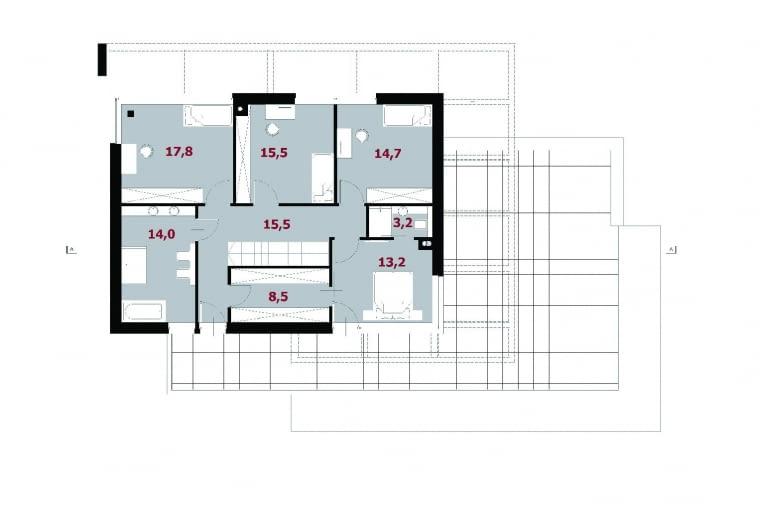 13. korytarz 15,5 m2 14. pokój 15,5 m2 15. pokój 17,8 m2 16. łazienka 14,0 m2 17. garderoba 8,5 m2 18. pokój 13,2 m2 19. łazienka 3,2 m2 20. pokój 14,7 m2