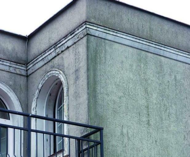 odnawianie elewacji, tynk, balkon, płaski dach okna łukowe