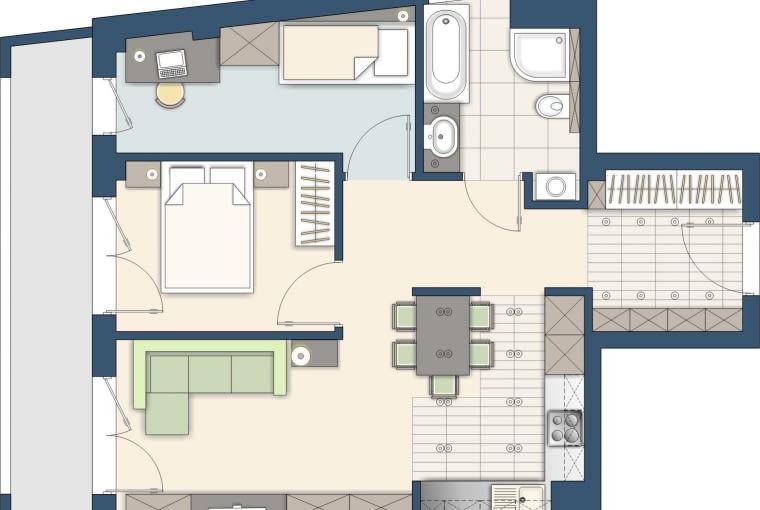 Pokój dzienny został podzielony na dwa mniejsze pomieszczenia - urządziłam w nich Państwa sypialnię i pokój dziecięcy. Część wypoczynkowa znajduje się teraz po lewej stronie mieszkania.