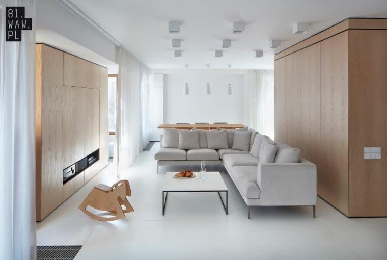 nowoczesne wnętrza w bieli i drewnie