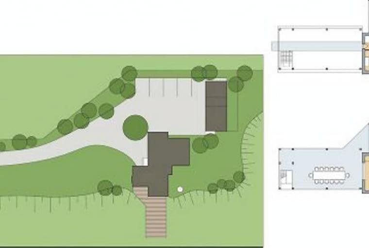 Sytuacja i plany budynku. Projekt Magdalena Ignaczak i Jacek Kunca/ JM Studio Architektoniczne