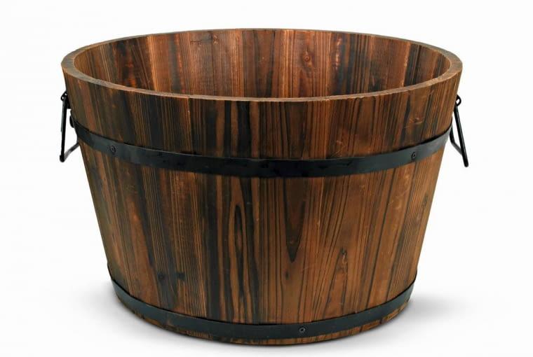4. donica okrągła drewniana (śr. 39 cm), 30 zł, Jula