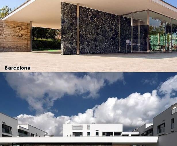 Porównanie wejścia do warszawskiego osiedla z Pawilonem Miesa van der Rohe w Barcelonie