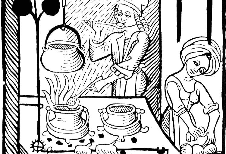 Kucharz przy piecu z tradycyjną chochlą. Drzeworty z pierwszej książki kucharskiej pochodzącej z 1485 r.