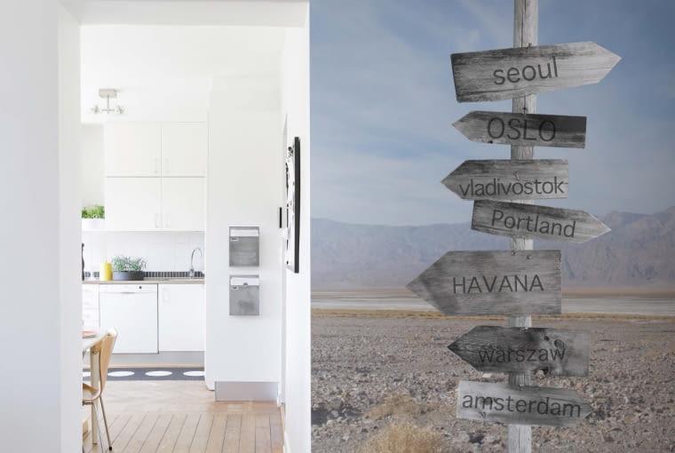 KIERUNEK KUCHNIA? Ta fototapeta idealnie pasuje do przedpokoju, z którego prowadzą 'drogi' do wielu pomieszczeń. Wybór, w którą stronę pójść, należy do ciebie.
