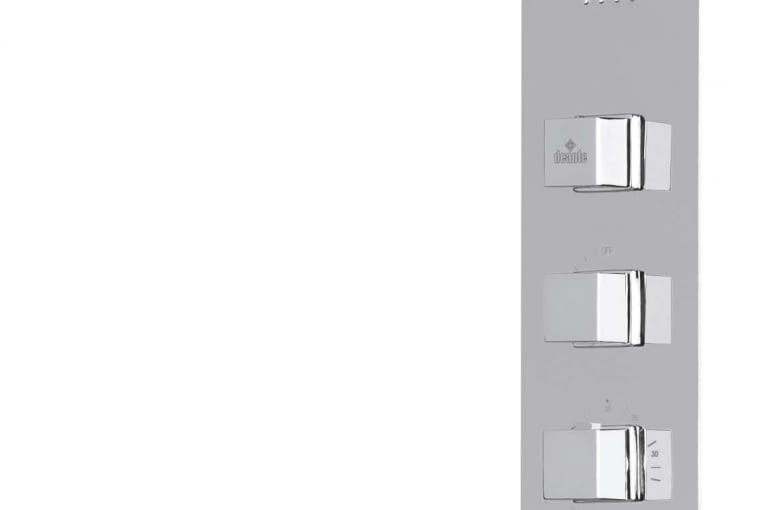 MULTIBOX, panel ścienny, zpodtynkową baterią termostatyczną irączką prysznicową, mosiądz ichrom, 50 x 23 cm 3249 zł Deante