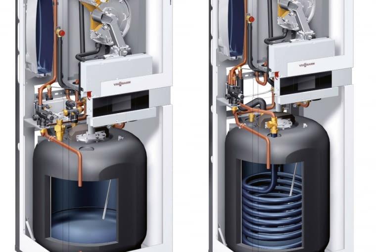 Stojące jednofunkcyjne kotły kondensacyjne z zasobnikami - model ze zbiornikiem z wężownicą (z prawej) oraz z warstwowym (z lewej)