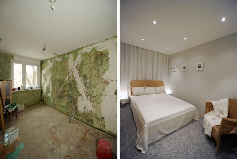 W sypialni zerwano podłogi i wprowadzono miękką wykładzinę. Tutaj, jak i w całym mieszkaniu zamontowano podwieszane sufity. Wnętrze wieńczą wiklinowe meble.