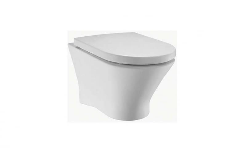 Nexo Rimless/ROCA. Miska podwieszana, zaprojektowana z wykorzystaniem innowacyjnej technologii Rimless, nowatorskiego sposobu rozprowadzania wody dystrybuującego ją w kilku kierunkach; brak tradycyjnego kołnierza ułatwia utrzymanie higieny; wymiary: 36 x 53 cm. Cena (netto): 645 zł, www.roca.pl