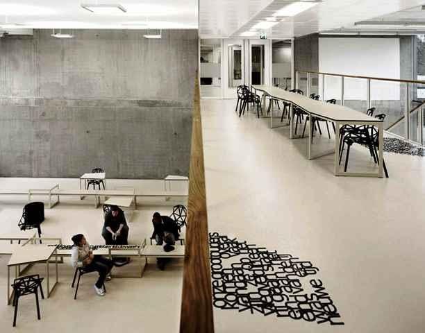 holandia, szkoła, design, mała bryła, panta rhei, wnętrza, monochromatyczne, biel, czerń, i29, amstelveen