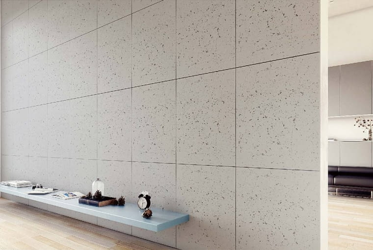 Industrio/ARTPANEL. Imituje minimalistyczną fakturę betonu; dostępny w dwóch formatach: kwadratowym i prostokątnym. Cena: 89 zł (szt.) (72 x 72 cm); www.artpanel.pl