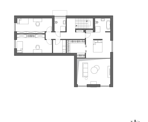 Dom w Tomaszowicach Kolonii, proj. KamińskaStańczak - rzut piętra