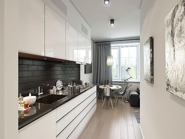 małe mieszkanie, szarości w mieszkaniu, projekt małego mieszkania, jak urządzić małe mieszkanie
