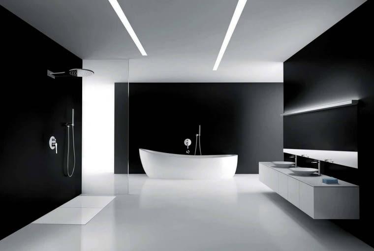 Czarna i minimalistyczna łazienka