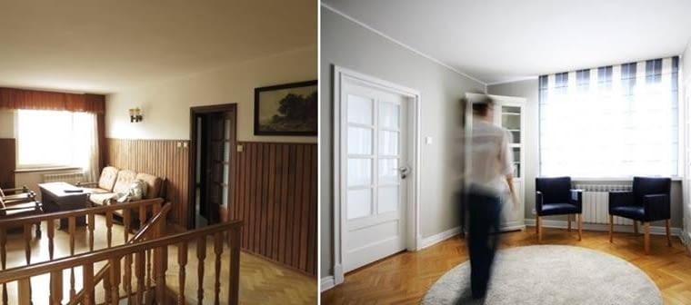 Wejście na piętro. Zniknęła przyciężkawa boazeria, zasłony i fotele. Zrobiło się jaśniej, lżej i elegancko.