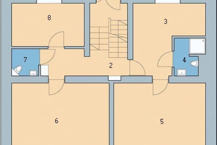 Rzut parteru: 1. wiatrołap 4,1 m2; 2. hol 6,5 m2; 3. pokój gościnny 11,6 m2; 4. łazienka 3,6 m2; 5. pracownia 21,5 m2; 6. pracownia 23,0 m2; 7. wc 1,5 m2; 8. pokój 9,1 m2