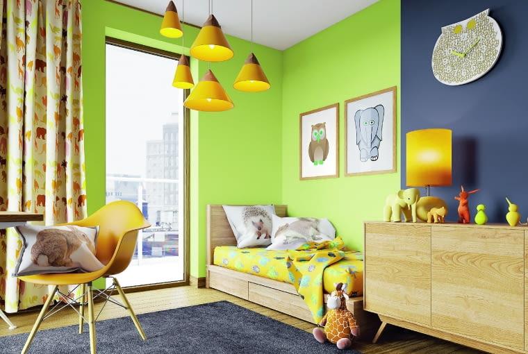 Do pokoju dziecięcego najlepsze są farby zawierające małą ilość lotnych związków organicznych oraz odporne na mycie i szorowanie.Śnieżka Barwy Natury, matowa lateksowa farba do wnętrz około 41 zł/2,5 l Śnieżka