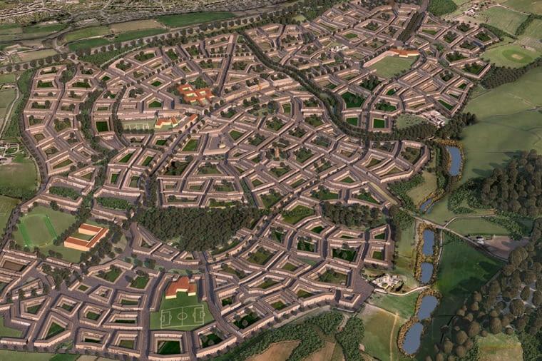 Miasta przyszłości według Księcia Karola, urbanistyka, Wizualizacje nowego miasta Sherford w południowo-zachodniej Anglii.