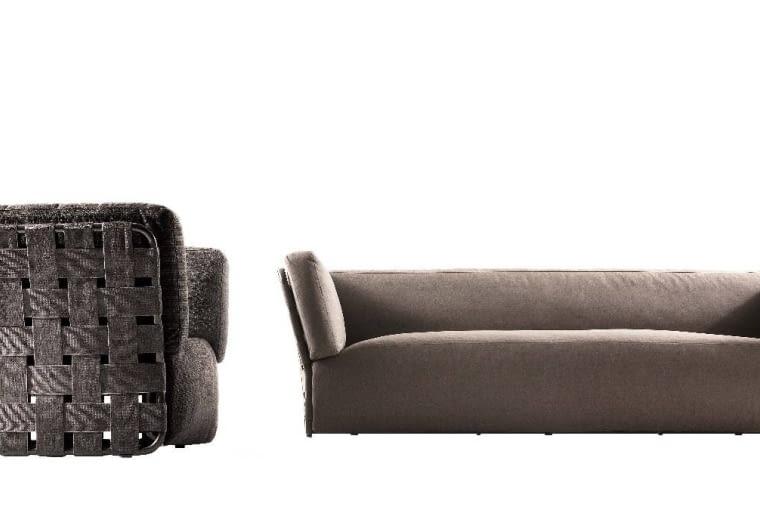 Mocne plecy. Duży taras wymaga mebli, które są piękne z każdej strony. Sofę i fotel z kolekcji Obi marki Varaschin można postawić centralnie, bo są atrakcyjne nie tylko en face, ale też z profilu i z tyłu. Boki i plecy wykończone zostały szeroką taśmą rozpiętą na metalowym stelażu. varaschin.it