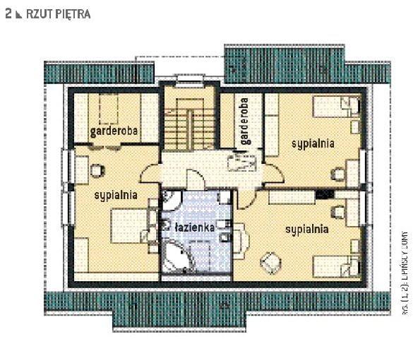 Rzut piętra domu państwa Zielińskich; projekt energooszczędnego domu Aston z pracowni Lipińscy Domy