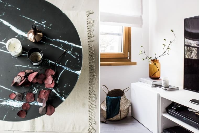 We wnętrzach skandynawskich to dodatki budują klimat i dopełniają indywidualną formę aranżacji. Marmurowy stolik, wiklinowe kosze i duże szklane wazony to pomysł na twórczość własną, którą w każdej chwili można zmienić.