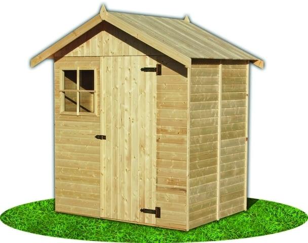 Domek narzędziowy mini, z naturalnego drewna iglastego. Wymiary: wys. 230 cm, szer. 150 cm, gł. 140 cm. Cena: 1299 zł, Praktiker, www.praktiker.pl