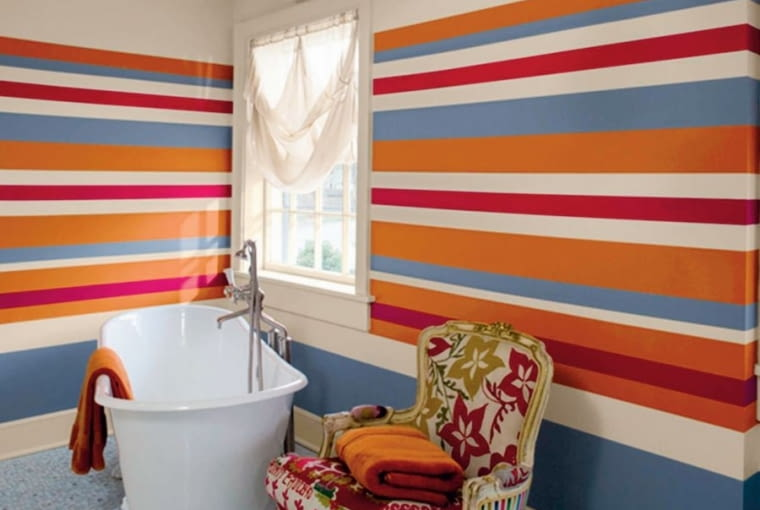 Kolorowe ściany w łazience, Benjamin Moore.