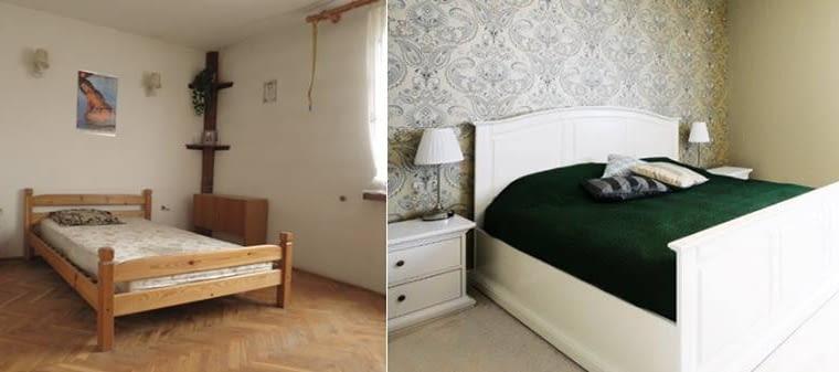 Sypialnia właścicieli. Tu kolorystyka również uległa nieco zmianie. Szlachetna zieleń zastąpiła granat. Drewniane łoże ma klasyczny kształt z dużym wezgłowiem. Z tyłu na ścianie tapeta z dekorem, która gospodarzom tak przypadła do gustu, że po jakimś czasie wyłożyli nią jeszcze więcej ścian niż projektantka początkowo zaplanowała.