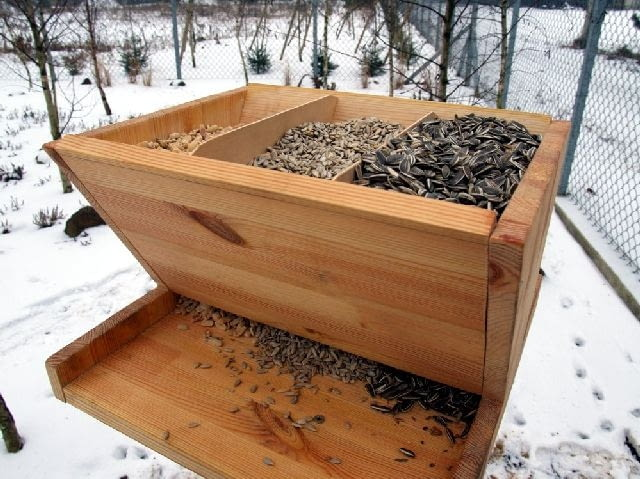 Karmniki dla ptaków. Do podawania różnych pokarmów sypkich (nasiona, ziarna, drobne suszone owoce) idealne są karmniki automatyczne.