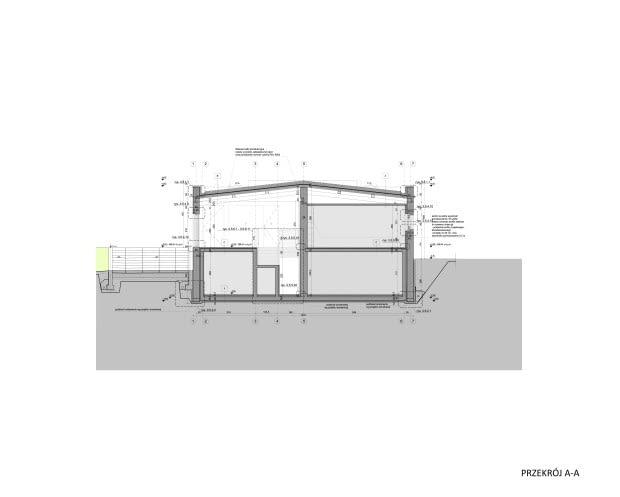 Porcelana Śląska Park 2 - modernizacja budynku dawnej stajni - przekrój
