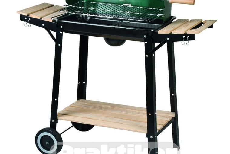 WYPRZEDAŻ!: Grill węglowy, prostokątny, przeceniony z 119 zł na 89,99zł, na kółkach, z drewnianymi półkami, rożen w komplecie, waga: 17,8 kg, materiał wykonania: stal, średnica rusztu: 37cm, wysokość: 70cm, do kupienia w sklepach PRAKTIKER