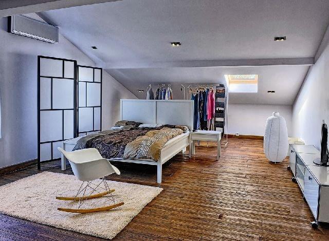 sypialnia,poddasze,wnętrza domu