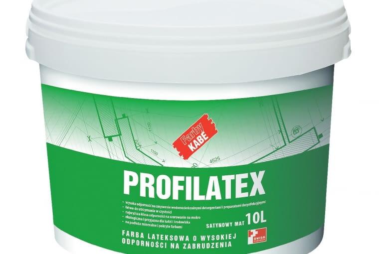 Profilatex/FARBY KABE POLSKA| Rodzaj: farba lateksowa na podłoża mineralne i pokryte farbami | wysoka odporność na zmywanie wodorozcieńczalnymi detergentami i preparatami dezynfekującymi (z wyłączeniem rozpuszczalników organicznych) | 1 klasa odporności na szorowanie na mokro wgPN-EN 13300. Cena: 28 zł/1 l (opakowanie 5 l), www.farbykabe.pl