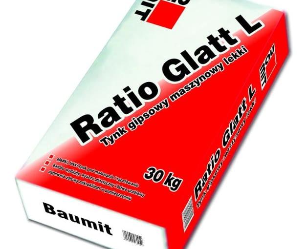 Baumit Ratio Glatt L - worek 30 kg, cena brutto 26,94 zł/worek - tynk gipsowy maszynowy lekki