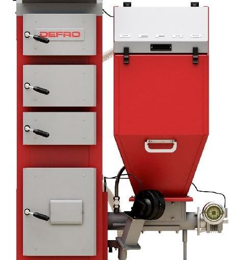 Kocioł z podajnikiem automatycznym - Defro Duo Uni Defro; moc 15 kW; palnik retortowy; wymiennik ciepła ze stali. Wymiary (wys./szer./gł.): 1692/1195/975 mm. Cena brutto: 10 959 zł.
