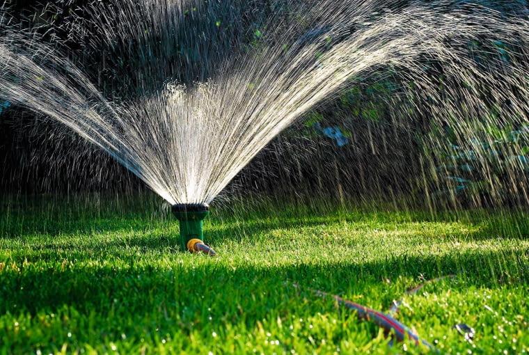 Ogrodowy trawnik najlepiej podlewać zraszaczami wynurzalnymi - nie będą przeszkadzać w koszeniu tawy.