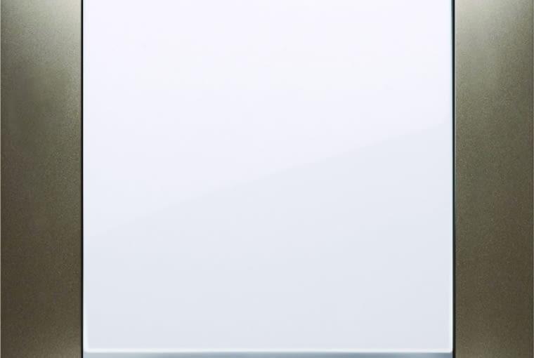 WYŻSZA CENA 54 Premium/Kontakt-Simon; łącznik pojedynczy klawisz białe tworzywo ramka metal - satynowy blask Cena: ok. 60 zł
