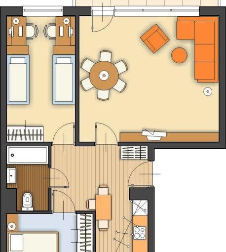 Propozycja 1. Układ ścian konstrukcyjnych w mieszkaniu ogranicza pole manewru, dlatego też proponowane przeze mnie zmiany nie są rewolucyjne. Ponieważ uważają Państwo, że dzieci mogą jeszcze przez jakiś czas zajmować wspólny pokój, postanowiłem nie wydzielać w mieszkaniu trzeciej sypialni.
